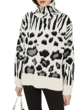 Zebra Mix Turtleneck Sweater by Topshop