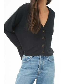 Ribbed Knit Button Front Top by Forever 21