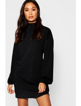Balloon Sleeve Sweat Dress by Boohoo