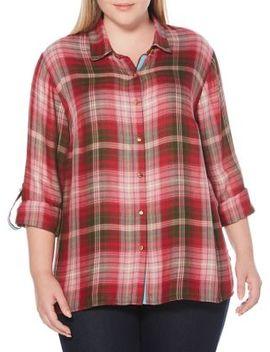 Plus Plaid Button Down Shirt by Rafaella