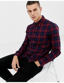 Burton Menswear Shirt In Burgundy Ombre Check by Burton Menswear London