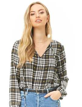 Plaid Tie Neck Top by Forever 21