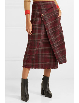 Checked Tweed Wrap Effect Skirt by Acne Studios