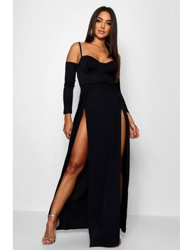 Cupped Bodice Thigh Split Maxi Dress by Boohoo