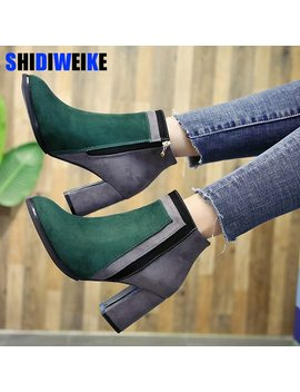 Botas Mujer 2018 Newest Mixed Color Ankle Boots Women Thick High Heels Chelsea Boots Ladies Patchwork Winter Martin Boots N176 by Ali Express