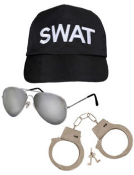 Swat Team Fancy Dress 3 Piece Cap Hat Aviator Glasses And Handcuffs Costume Set by Ebay Seller