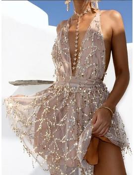 Sequined Deep V Open Back Mini Dress by Ivrose