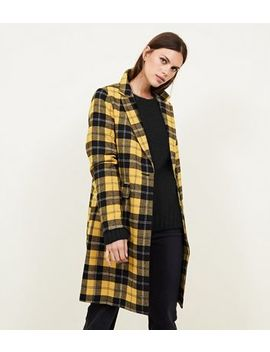 Mustard Check Longline Coat by New Look