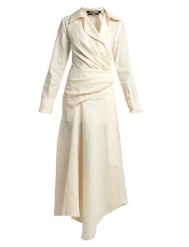 Sabah Ruched Linen Blend Midi Dress by Jacquemus