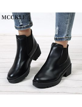 Mcckle Women Ankle Boots Platform Elastic Band Chunky Heel Shoes Female Slip On Short Boot Autumn Mid Heels Shoe For Ladies by Mcckle