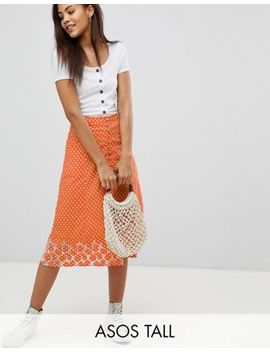 Asos Design Tall Polka Dot Print Midi Skirt With Embroidered Hem by Asos Design