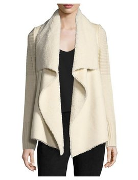 Faux Shearling Knit Trim Jacket by Bagatelle