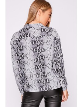 Mikala Grey Snake Print Shirt by In The Style