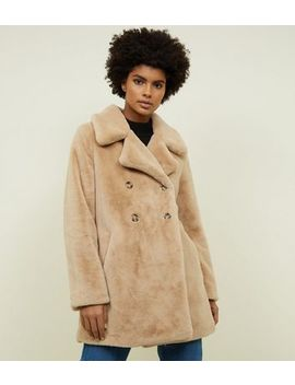 Blue Vanilla Stone Double Breasted Faux Fur Coat by New Look