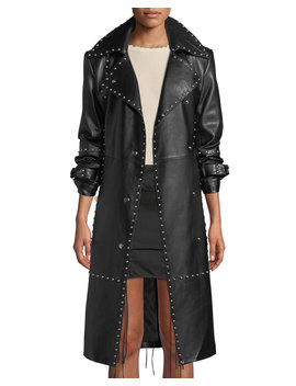 Studded Leather Long Trench Coat by Helmut Lang