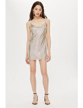 Petite Foil Cowl Mini Dress by Topshop