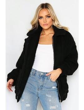 Black Teddy Fur Pocket Jacket by Lasula
