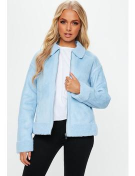 Blue Faux Fur Trim Aviator Jacket by Missguided