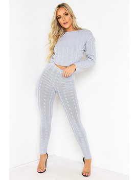 Grey Cable Knit Legging Co Ord Set by Lasula