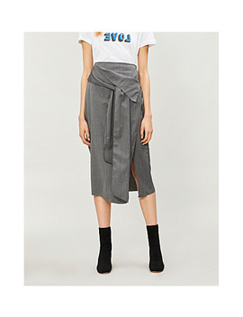 Boutique Pinstriped Woven Wrap Skirt by Topshop