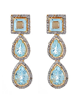 Forever Creations Gold Over Silver 13.20 Ct. Tw. Diamond & Aquamarine Drop Earrings by Forever Creations Usa Inc.
