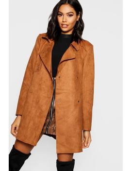 Suedette Double Breasted Jacket by Boohoo
