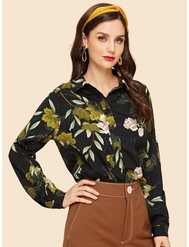Button Front Collar Neck Floral Top by Shein