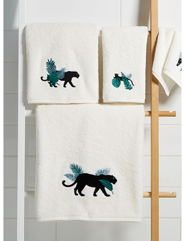 Sumptuous Panther Embroidered Towels by Simons Maison