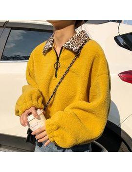 Dute   Leopard Print Panel Half Zip Pullover by Dute