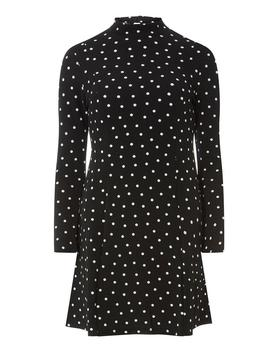 Petite High Neck Spot Dress by Dorothy Perkins