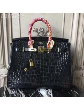 Original Crocodile Grain Totes Woman Black Shoulder Bag by I Offer