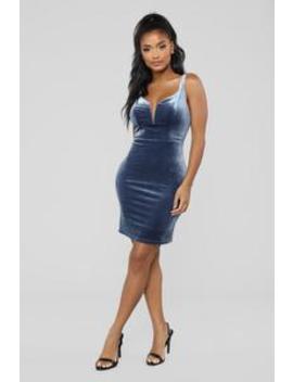 Don't Break My Heart Velvet Dress   Blue by Fashion Nova