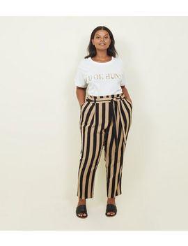 Curves– Schwarz Gestreifte Hose Mit Bindegürtel An Der Taille by New Look