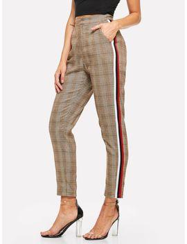Striped Sideseam Plaid Pants by Shein