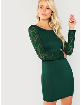 Floral Lace Insert Form Fitting Dress by Shein