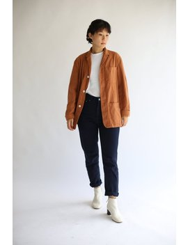 Vintage Rust Orange Overdye Chore Jacket | Cotton French Workwear Style Utility Work Coat Blazer S M L by Etsy
