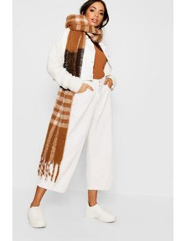Camel Check Woven Scarf by Boohoo