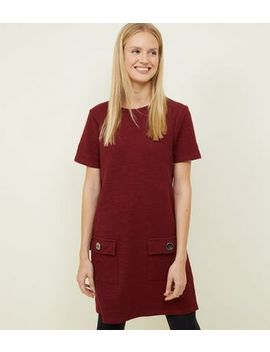 Plum Bouclé Pocket Front Tunic Dress by New Look