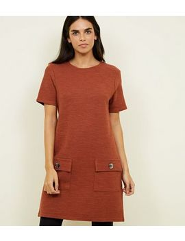 Tan Bouclé Pocket Front Tunic Dress by New Look