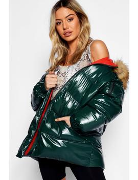 Petite High Shine Padded Coat by Boohoo