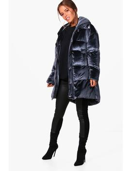 Petite Velvet Padded Coat by Boohoo