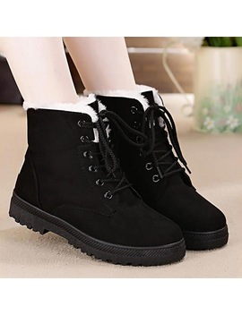 Snow Boots 2018 Classic Heels Suede Women Winter Boots Warm Fur Plush Insole Ankle Boots Women Shoes Hot Lace Up Shoes Woman by Jiasha