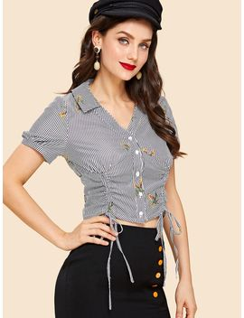 Dual Drawstring Front Shirred Back Embroidered Blouse by Shein