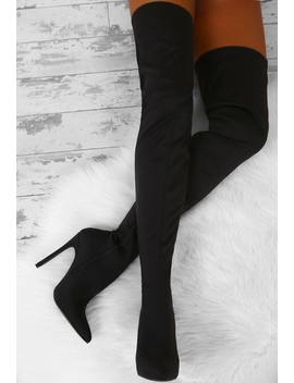 Strip Search Black Lycra Over The Knee Stiletto Boots by Pink Boutique
