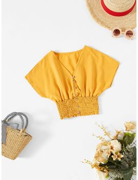 Girls Batwing Sleeve Shirred Hem Button Up Blouse by Shein