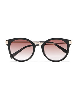 Last Dance Round Frame Acetate And Gold Tone Sunglasses by Le Specs