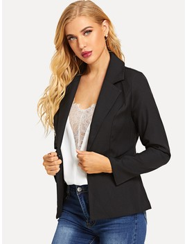 Button & Pocket Front Blazer by Sheinside