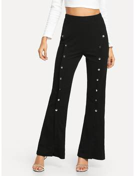 Double Button Front Flare Pants by Shein