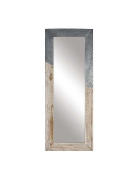 Decmode Rustic Wood And Metal Rectangular Framed Full Glass Wall Mirror, Beige by Dec Mode