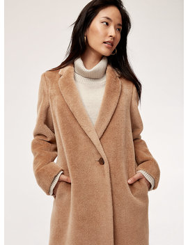 Stedman Coat   Mid Length, Alpaca Wool Coat by Babaton